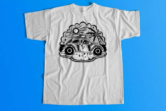 Volkswagen Beetle Skeleton Shirt Summer Chill VW Bug T-Shirt