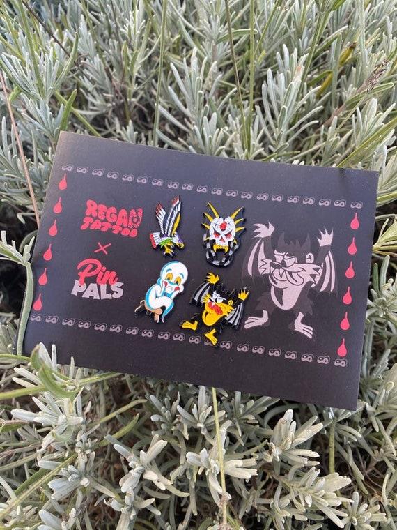 Traditional Tattoo Pin Set - Regan Tattoo x PinPals - Tattoos, neo traditional, eagle, tazmanian devil, ghost