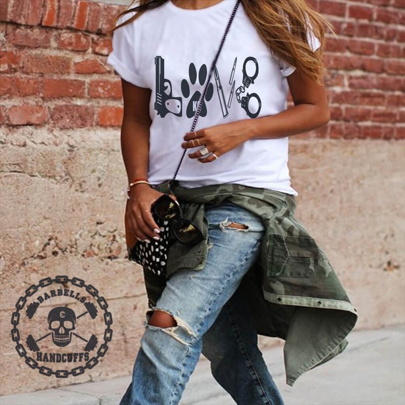9581520c6256a Police Love Shirt Police Wife Shirt Fitness Tanks for Women