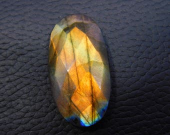 Labradorite Faceted Cabochon Loose Gemstone 31.00 Cts  17x33 MM Approx Two Site Oval Shape Multi Power Gemstone .