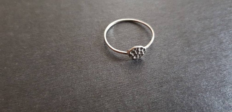 boho style Minimalist silver ring modern in timeless antique style with a thin rail and hammered surface
