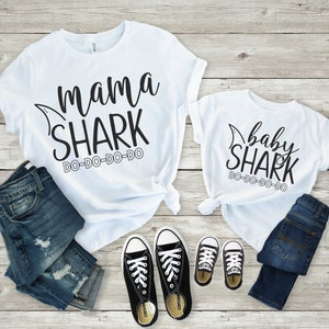 Mama Shark Baby Shirt Family Shirts Pregnancy Announcement Mommy And Me Outfits Mothers Day Gift