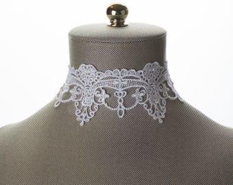 Bridal Choker. Embroidery Wide Lace Choker Necklace. White Choker. Wide Lace Choker. Lace Jewelry. White Lace Choker. Bridal Lace Jewelry