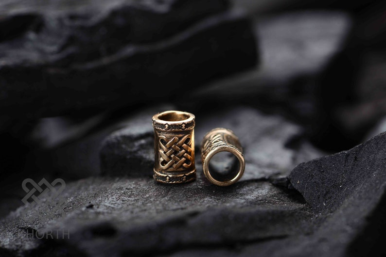 Two Bronze Hair Beads inspired by World of Warcraft | Dreadlock Fantasy  Dwarven Jewelry Ironforge Hearthstone Elysium Handmade by Khorth