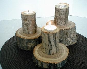 Wedding Log Candle Set, Home Decor, Cabin Decor, Spring Decor, Christmas Gifts, Holiday Decor, Log, Candles, Log Slice, Rustic, Wood Slice