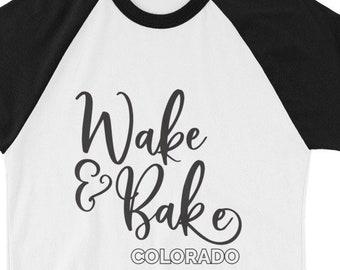 Wake and Bake Colorado Retro Style MaryJane CBD Cannabis Marijuana Colorado 3/4 sleeve raglan shirt