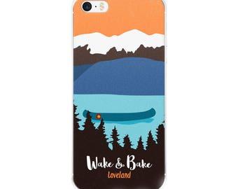 Wake and Bake Loveland Cannabis Mountain Scene Canoe Lake Marijuana Colorado Phone Case