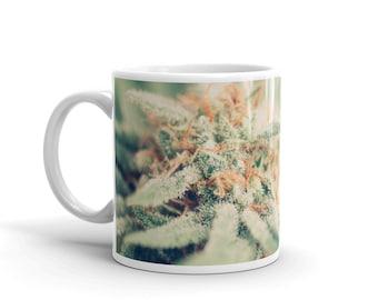 Macro crystalized beautiful flower detail photo Cannabis Marijuana Colorado Coffee Nug Mug
