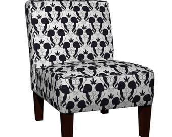 Smoking Silhouette Cannabis Marijuana MaryJane Joint Smoker Pattern Maran Slipper Chair with Eco Canvas