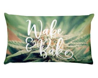 Wake & Bake gorgeous close-up Macro nug pillow crystalized beautiful flower detail photo Cannabis Marijuana Rectangular Home Decor