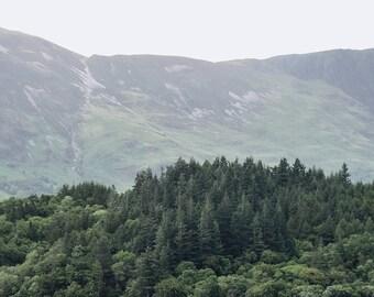 Minimal Scottish Highlands Landscape Print - Scotland Nature, Trees, Mountains, Green, Simple Home Decor,Printable Wall Art,Digital Download