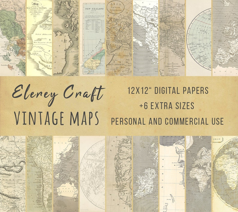 graphic relating to Printable Vintage Maps identified as Printable Common Maps - Downloadable Paper Pack, 18 Outdated Map Printables, Rustic Sbook Papers, Electronic Ephemera, Do it yourself Junk Magazine Package