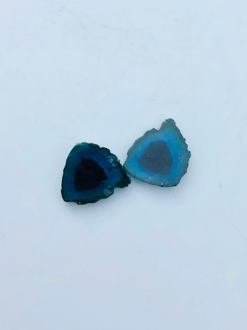 6.85 Cts Natural Fully Transparent Amazing Shape Proper Blue Watermelon Tourmaline Slices Pairs From Afghanistan