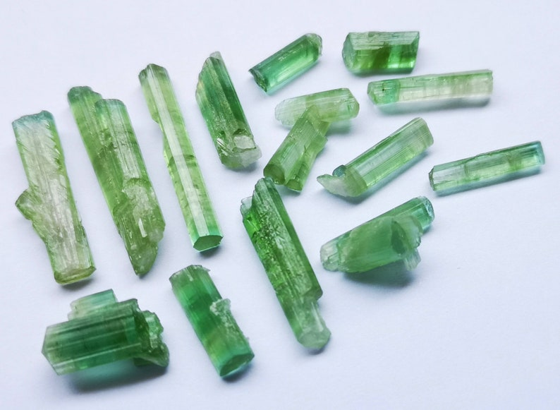 49 Carats Amazing! Bi Color /& Green Transparent Tourmaline Crystals from Afghanistan