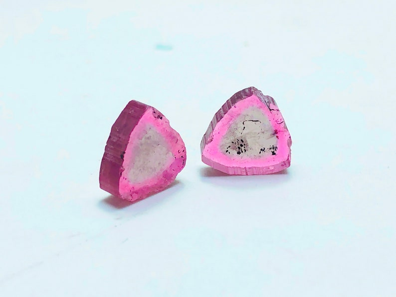 6.15 Cts Natural Fully Transparent Amazing Shape Proper Pink /& Yellow Tourmaline Slices Pairs From Afghanistan