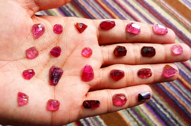 46 Carats Natural Transparent Reddish Rubellite Tourmaline Rose Cuts From Afghanistan
