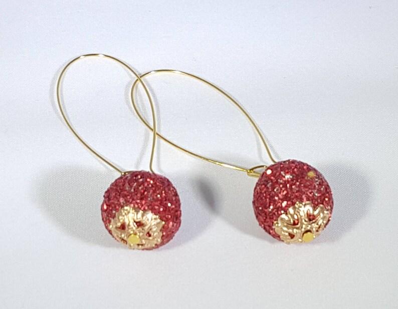 Red Glitter Ball Dangle Earrings
