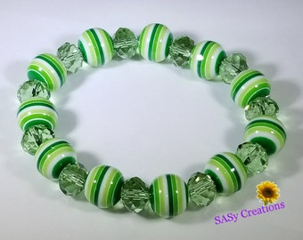 Green Strips with Crystal Rondelle Stretch Bracelet