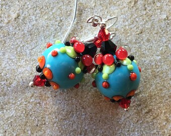 SRA Lampwork Earrings, Red and Blue Pod Earrings, Lampwork Jewelry, Gift For Her