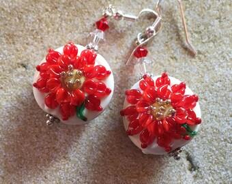 Red Poinsettia Earrings, Lampwork Jewelry, SRA Lampwork Jewelry, Holiday Jewelry, Christmas Jewelry, Christmas Earrings, Holiday Earrings