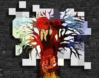 Simian Oak print