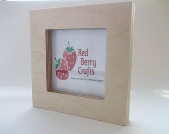 Wooden Block 13cm x 13cm Photo Frame - Plain Birch Plywood