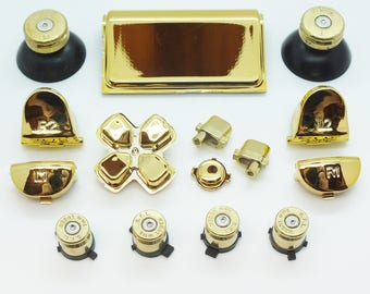 Playstation 4 Gold Bullet Action Buttons & 338 Sniper Thumbs with Replacement Button Mod Kit for PS4 Controller Shell
