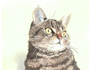Portrait of Luna, custom cat portrait in watercolor from photo, cat commission art, memory