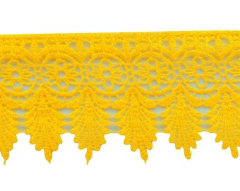 Yellow Venice Lace Trim, Floral Pattern Embellishments, Indian Trim, Sewing Crafts Accessories, 3.5 Inch Wide Ribbon By The Yard VL47A