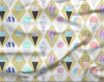 Home Decor Fabric Sewing Decor Ice Cream Print White Quilting Cotton Fabric 42 Inch Fabric By The Yard ZBC9351A