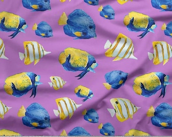 157b1407ee Angelfish Ocean Printed Fabric, Indian Dress Fabric, Quilting Cushion  Curtain, Quilt Fabric, Cloth Fabric, Fabric By The Yard, SMIN-OC-576