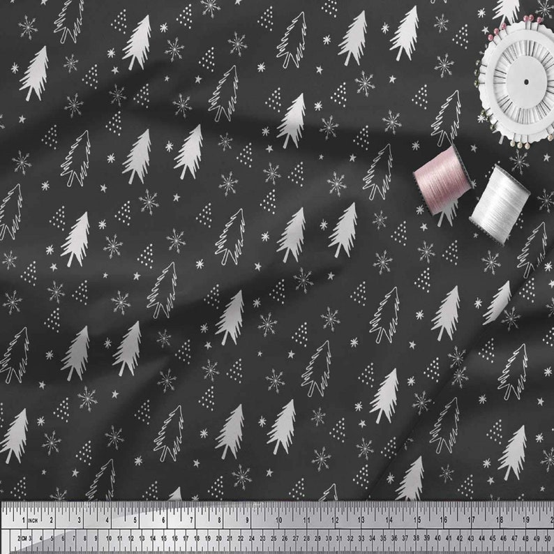 Home Decor Fabric Dressmaking Material SMIN-XM-536A-42 Fabric by The Yard Cotton Cambric Fabric Sewing Fabric Christmas Tree Printed