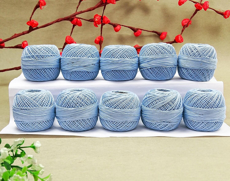 Clair de de Clair fil de coton bleu, 10 Pcs à broder, fil à crocheter Anchor, fil mercerisé Craft, fil à tricoter frivolité, AMT14A e73d48