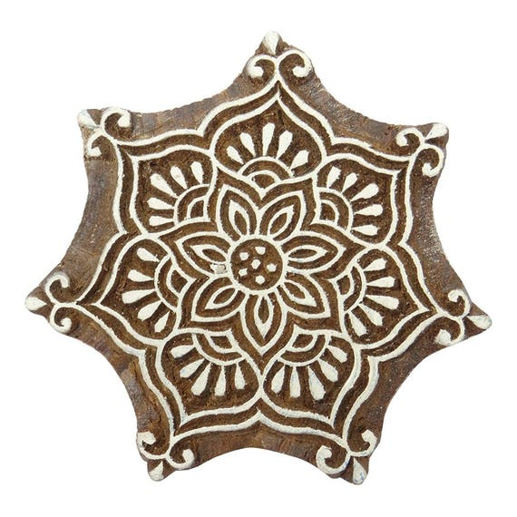 Traditional Floral Design Wooden Printing Block Indian Wood Etsy