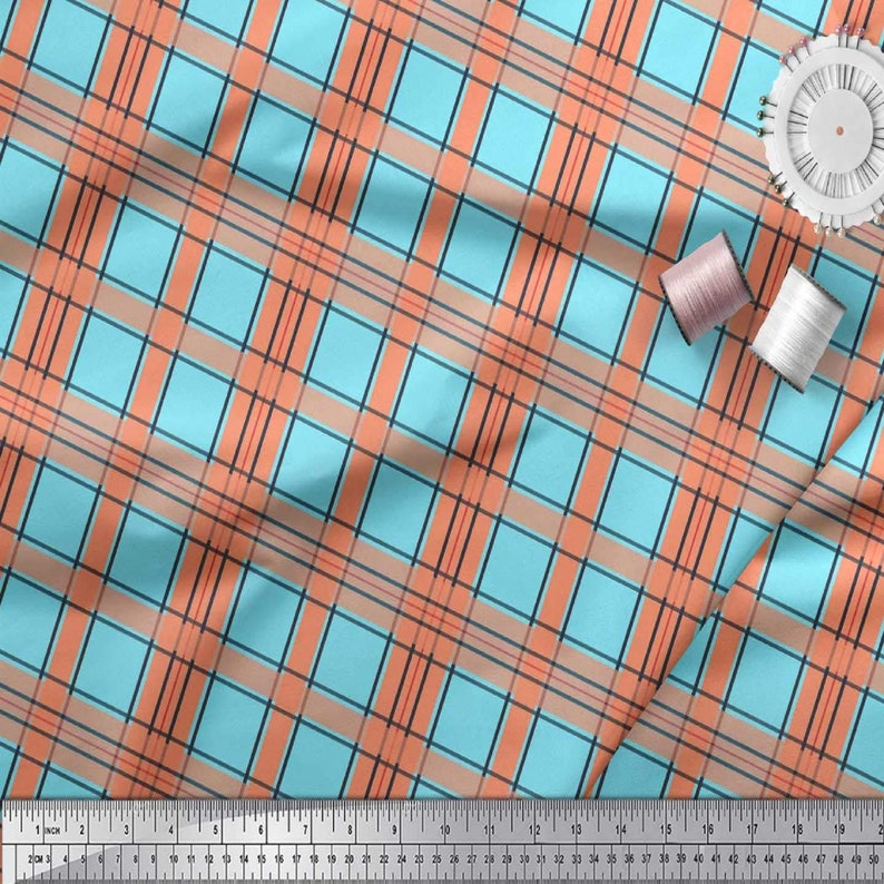 Check Decor Fabric Printed Decor Fabric Printed Dressmaking Blue Cotton Cambric Fabric Modern Fabric SMIN-CH-571A Indian Dress Fabric