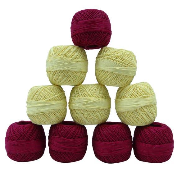 Du 10 fil de coton, 10 Du Pcs Magenta fil jaune, fil mercerisé, fournitures de couture, broderie au Crochet fil, fil à tricoter frivolité, MMT232A 6dd037