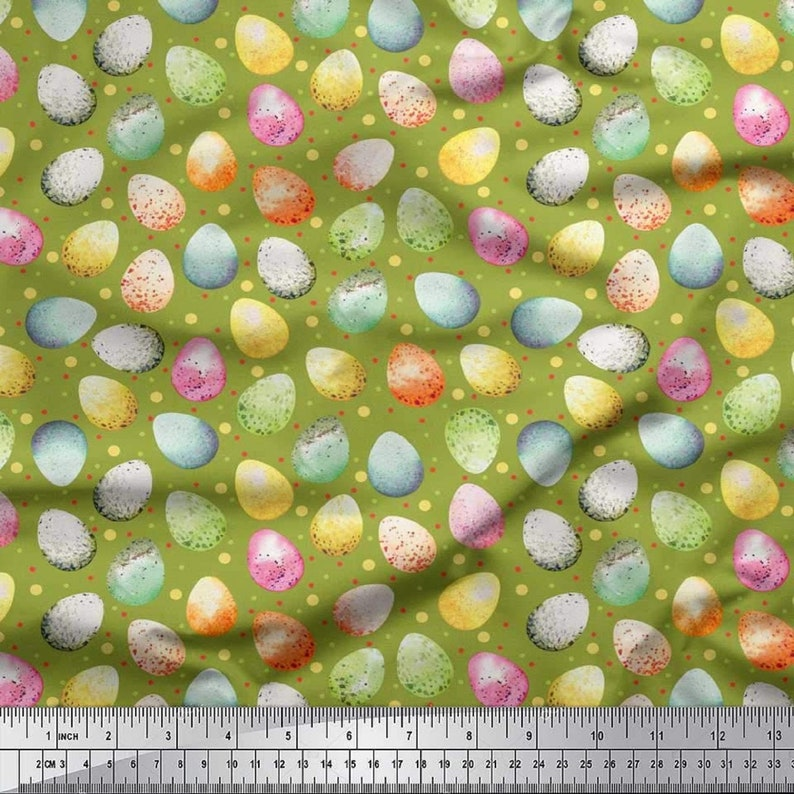 Sewing Fabric Home Accessories Decor Fabric Craft Supplies Cotton Cambric Fabric Fabric by The Yard SMIN-ES-509H-42 Egg Easter Print