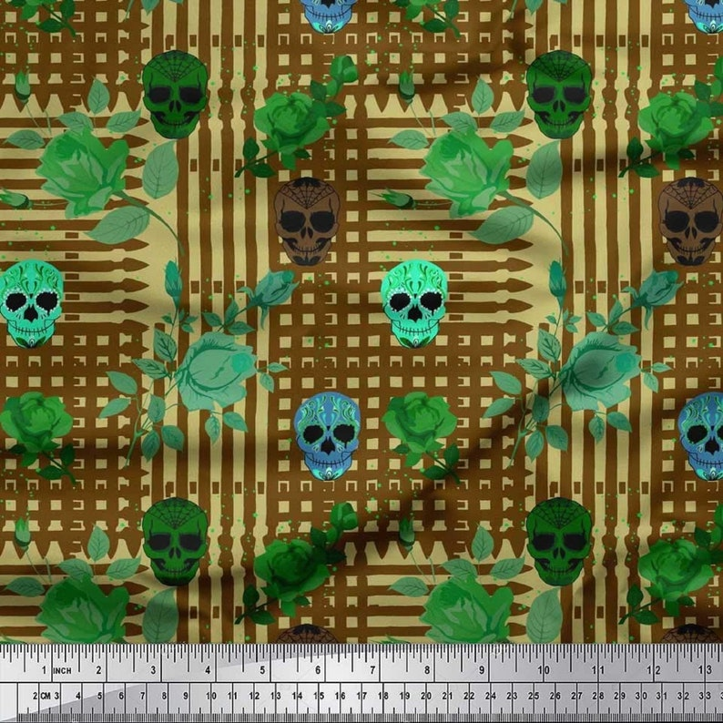 Apparel Fabric Sewing Fabric SMIN-HO-28A-42 Fabric by The Yard Halloween Printed Cotton Cambric Fabric Designer Fabric Craft Supplies