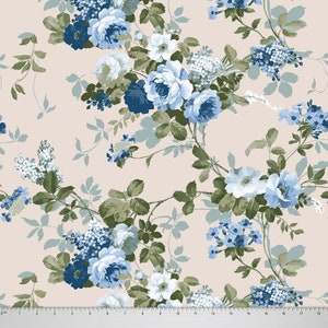 Sewing Material Fabric By The Yard SMIN-FL50H Silk Fabric Velvet Fabric Home Decor Fabric Cotton Fabric Grayish Blue Floral Print