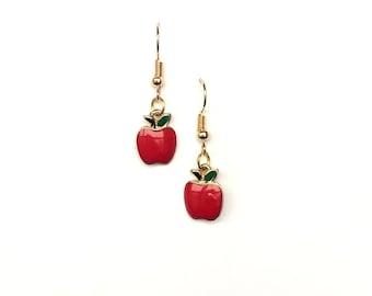 b32ca19311768 Gold apple earrings | Etsy
