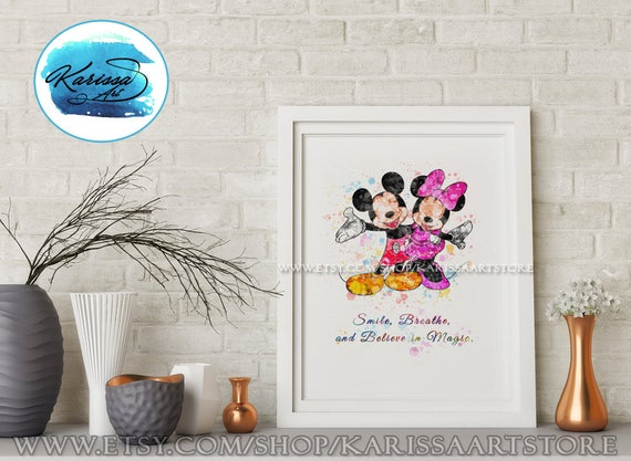 Mickey and Minnie Mouse, Disney Quotes, Mickey Mouse Birthday, Disney  Mickey Art Print, Wall Art, Home Decor, Nursery, Gift, illustration