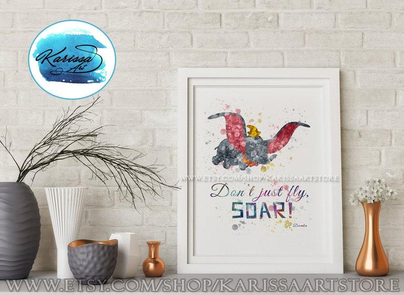 bc0ef3f933 Dumbo Soar Disney Quotes Elephant Watercolor Disney