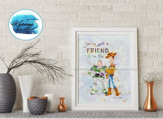 Buzz and Woody, Toy Story Party, Disney Pixar, Friendship Quote, Andy,  Friend in me Quote, Toy Story Birthday, Toy Story Decor, Pixar Print