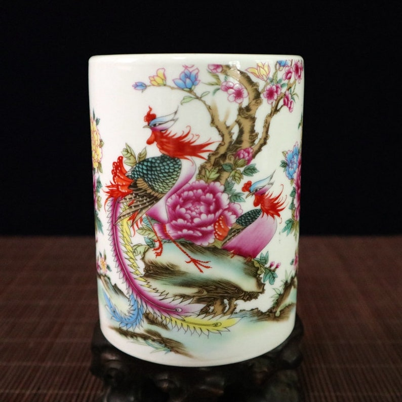 Chinese old porcelain Pink Porcelain Snow Scenery Penholder