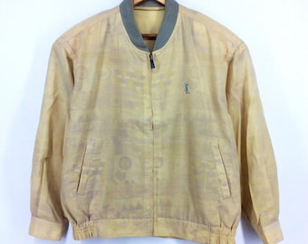 520577f8597 Vintage Yves Saint Laurent Jacket YSL Full Printed Multicolor Spellout YSL  Logo Pullover Jumper Sweater Fashion Designer Shirt