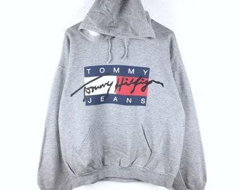 c9dba806 Vintage 90s Tommy Hilfiger Hoodie Sweatshirt Big Logo Hip hop Swag Signature
