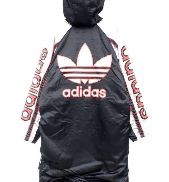cf7e5f63af0ba Vintage Adidas Hoodie Jacket / Adidas Trefoil Multicolor / Long Jacket /  Jacket / Winter Jacket / Hoodie / Big Logo Rap Tees Hip Hop Swag