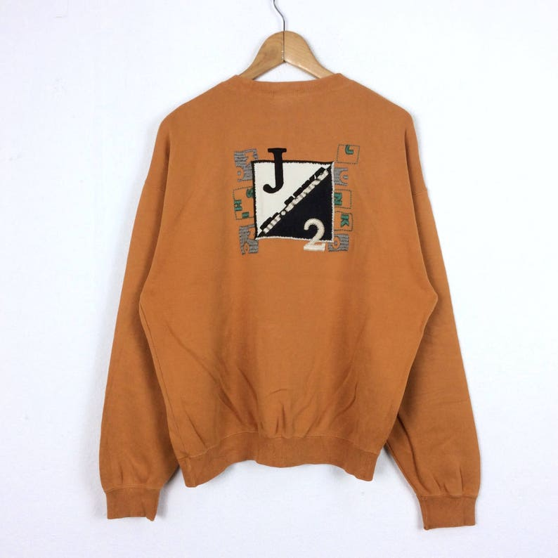 310b010866df6 Vintage 90s Mr. Junko J2 Sweatshirt Pullover Jumper Embroidered Big Logo  Spell out Medium Size Retro Style Fashion Rap Tees Hip Hop Swag