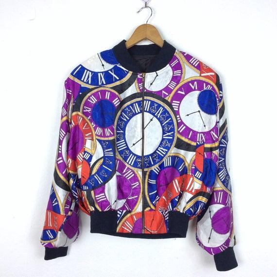 Vintage Bomber Jacket Baroque Bomber Jacket Purpl… - image 1