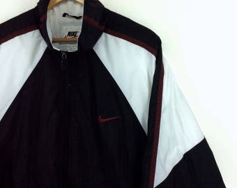 Vintage 90s Nike Jacket Nike Windbreaker Jacket Nike Black, White and Red Color (Bred) Big Logo Spellout Rap Tees Hip Hop Swag